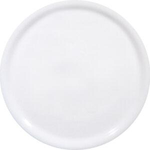 Valkoinen pizzalautanen, joka on valmistettu maasälpäposliinista.